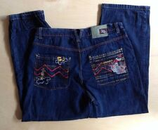 5ive Jungle Five New York Jeans Dark Embroidered 42 x 33 Hip Hop