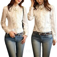 Silky Shirt Office Ladies Lace Collar Career Satin Blouse Womens Winter Top Size