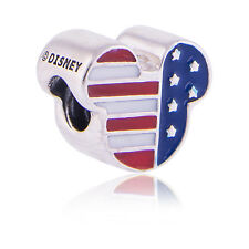 Genuine Pandora Silver Disney Mickey Head USA Flag Charm 791585ENMX Authentic