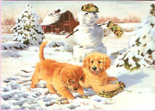 Golden Retriever Puppies and Snowman Christmas Cards Box of 18