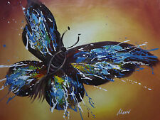 abstract colorful butterfly large oil painting canvas original cream brown blue