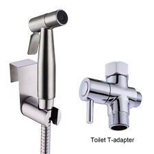 "Toilet Handheld Stainless Steel Bidet Sprayer Douche kit with 7/8"" T-adapter"
