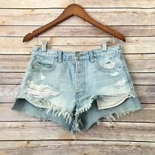 Abercrombie & Fitch light denim destroyed distressed high waist short shorts 4