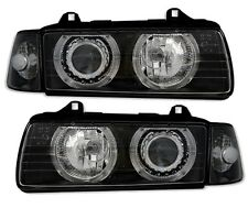 BLACK SMOKED ANGEL EYE HEADLIGHTS HEADLAMPS BMW E36 3 SERIES COUPE & CONVERTIBLE