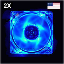 2X 120mm Computer PC Clear Case Cooling Fan With LED - Blue