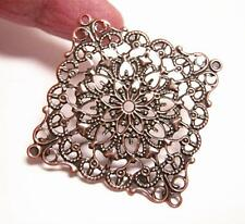 8pc Antique Copper Metal Filigree 40mm  Wraps--9591