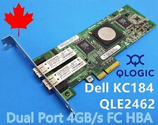 DELL 0KC184 Qlogic QLE2462 PX2510401 4Gb Dual Port PCIe Fibre FC HBA HALF HEIGHT