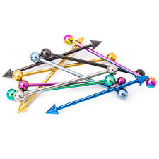 Industrial Piercing Barbells - 10 Anodized Titanium Piercing Bars - 14ga-1.5""