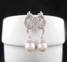 0.50CT ROUND PEARL DROP DANGLE BRIDAL EARRINGS IN 14KT SOLID WHITE GOLD