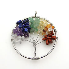 7 Chakras Natural Amethyst Mixed Colors Chips  Tree of Life Reiki Charm Pendant