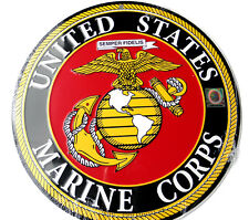 UNITED STATES MARINE CORPS USMC ROUND ALUMINUM SIGN 12 INCHES MADE IN THE USA