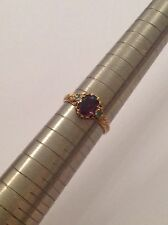 Delightful Fine Victorian 15ct Gold Almandine Garnet & Emerald Set Ring