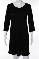 DKNY Black Wool Thin Knit A Line Sweater Dress Size Medium