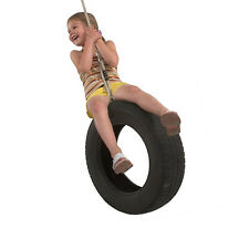 Classic Children's Rope and Tyre Swing with soft and waterproof polyhemp rope