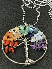 "Chakra Tree of Life Multi Gemstone Wire Charm Tibetan Silver 24"" Ball Necklace"
