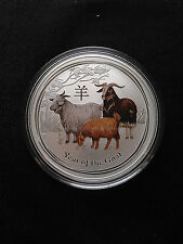 2015 1oz .999 Fine Silver Australian Year Of The Goat  Colored Coin- 50k mintage