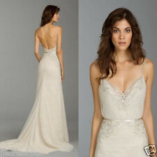 Sexy Backless Mermaid Lace Strappy Wedding Dresses Sleeveless Bridal Gown Custom