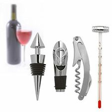 Wine Accessory Gift Set.  5 piece Chrome & Black Set in Gift Box