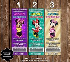 Minnie Mouse Birthday Party Ticket Invitations - 20 Printed W/envelopes