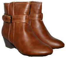 LADIES BROWN ANKLE BOOT WITH STRAP TRIM AND SIDE ZIP IN SIZE 5