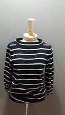 j crew collection women 100% cashmere stripe black tan sweater knit boat neck