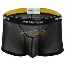 Mens Mesh Bulge Pouch Boxer Briefs Underwear Sexy Shorts Trunk See Through Pants