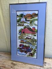 Vintage Finished Needlepoint Small Town Church Cider Mill Barn Cows