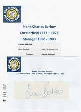 FRANK BARLOW CHESTERFIELD 1972-1976 MGR 1980-1983 ORIGINAL HAND SIGNED CUTTING