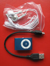SMALL BLUE MUSIC PLAYER WITH MICRO TF/SD CARD SLOT, EARPHONE AND USB CABLE