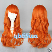 ladies Long wig Curly Orange Synthetic Women Girls Cosplay Party Wigs