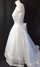 ALFRED ANGELO WHITE SATIN & NETTING WEDDING DRESS SIZE 8 BEAUTIFUL!