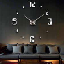 Modern Design Large DIY 3D Wall Clock Home Decor Art Watch Mirror Sticker
