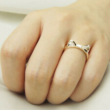 Women Lady Lovely Fashion Cat Adjustable Silver Plated Ring Anel Gifts