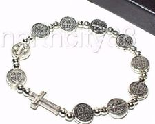 St. Benedict Medals Stretch Rosary Bracelet Decade Prayer w side cross and beads