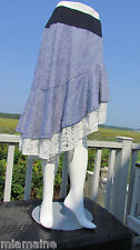 NEW 1X PYRAMID COLLECTION skirt gypsy white eyelet lace denim assymetrical USA