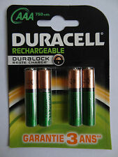 4 X AAA DURACELL Rechargeable Duralock Reste Chargé 750 mAh/1.2V HR03
