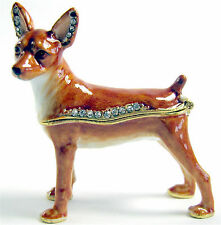 Miniature Pinscher- Jewelled Enamelled Dog Trinket Box or Figurine