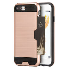 For iPhone 7+ Plus - ROSE GOLD ACRYLIC METAL HARD CASE COVER CREDIT CARD ID SLOT