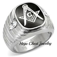 HCJ Stainless Steel Black Enamel Men's CZ Masonic Ring- Size 12
