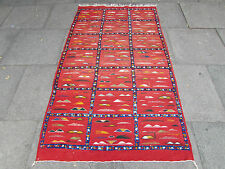 Old Traditional Tribal Hand Made Moroccan wool Red Rug Kilim 196x113cm