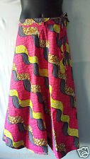 Wax Fabric Cloth wrap around Skirt Maxi African Vintage 70s Free size Print #15