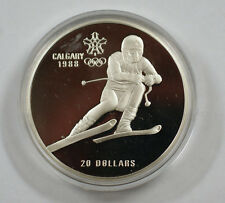 1985 Canada RCM 20 Dollar Silver 1988 Calgary Olympic Games Silver Proof Coin