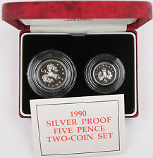 1990 United Kingdom Five Pence Proof  Silver Two-Coin Set w/OGP UK Great Britain
