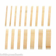 "Double Point Knitting Needles Bamboo  10"" (~25 cm) Bleached-Complete Set-Knitzy"