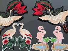 Set of 6 Bird Flamingo Sew On Embroidered Patch Applique Bird DIY Clothing