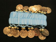 BELLY DANCE WRIST ANKLE CUFF ARM BRACELET in BLUE