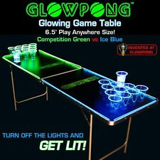 6.5FT Portable Glow Beer Pong Table Classic College Club Bar Party Drinking Game