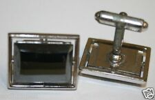 Vintage Men's See Through Chrome Square Shaped Mirrored Stone Cuff Links Rare