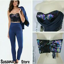 NWT bebe SEQUIN WRAP  BUSTIER TOP SIZE S Top  MSRP$91.00 NAVY BLUE COLOR