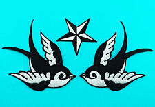 3 LOT SWALLOWS ROCKABILLY NAUTICAL STAR Embroidered Iron Sew On Jacket Hat Patch
